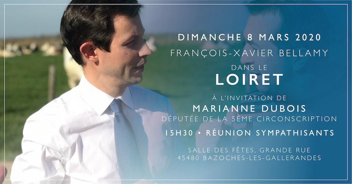 François-Xavier Bellamy dans le Loiret le 8 mars 2020