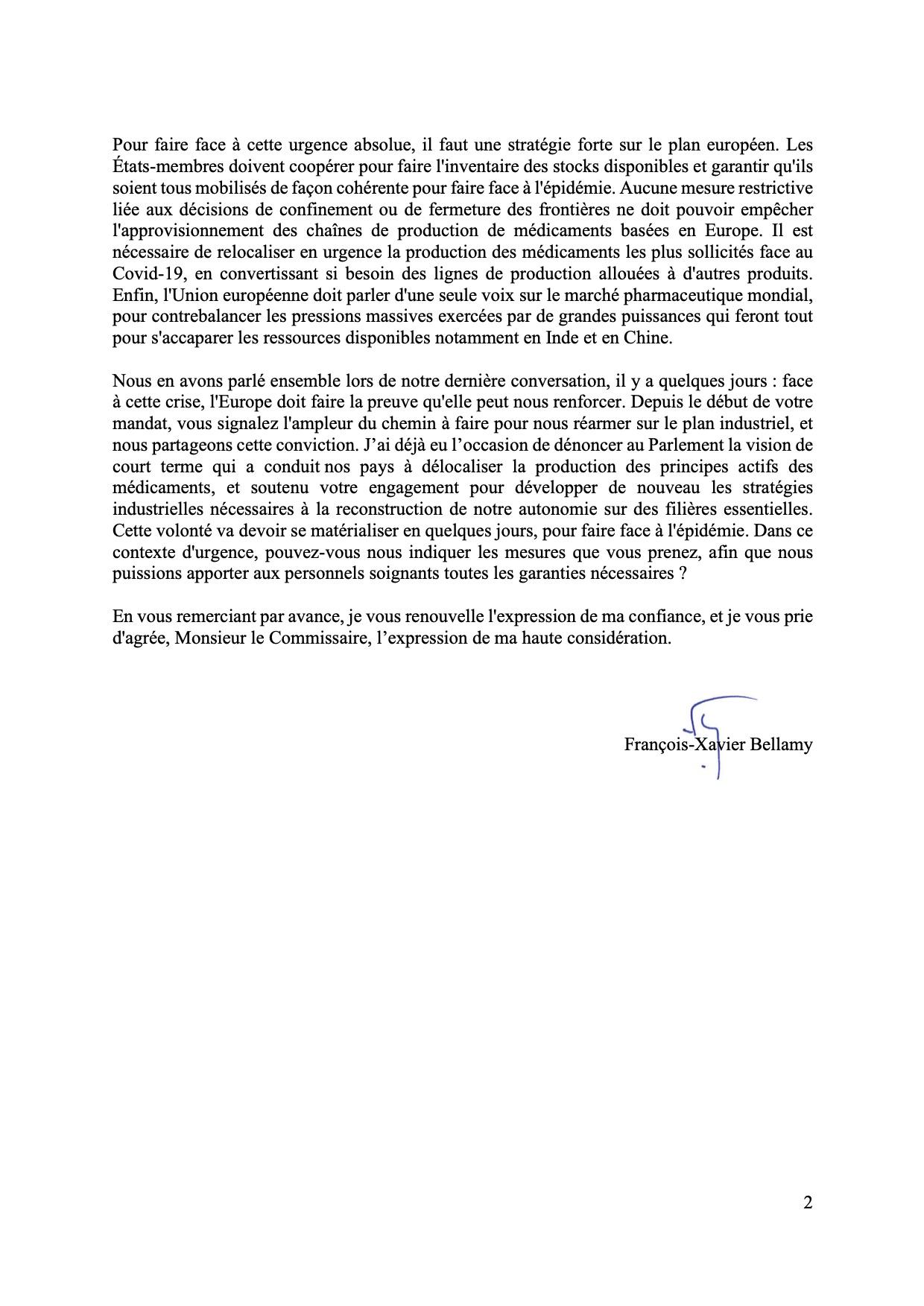 Pénurie de médicaments : lettre de François-Xavier Bellamy à Thierry Breton (2/2)