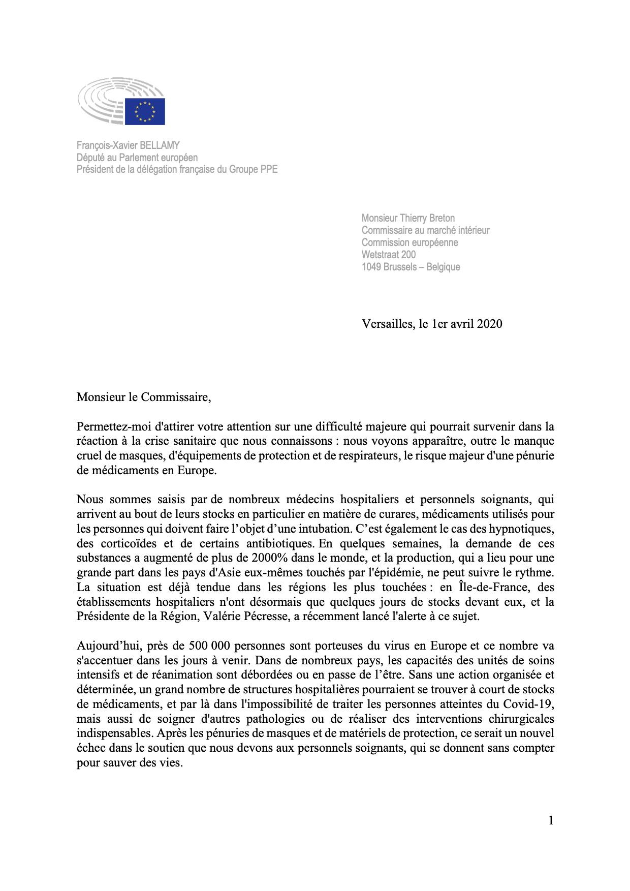 Pénurie de médicaments : lettre de François-Xavier Bellamy à Thierry Breton (1/2)